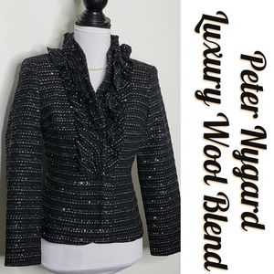 Peter Nygard Black Sparkle Luxury Blazer M…